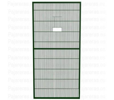 Panel de malla de voladero con puerta guillotina verde