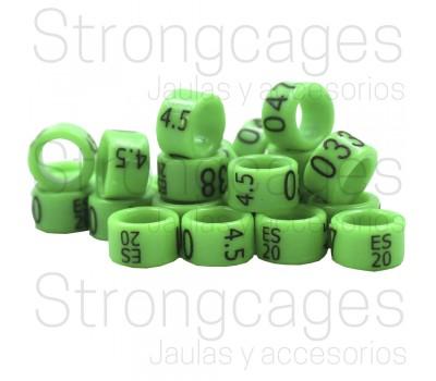 Agapornis / Anillas Grabadas con año y numeradas de carbono 4,5mm