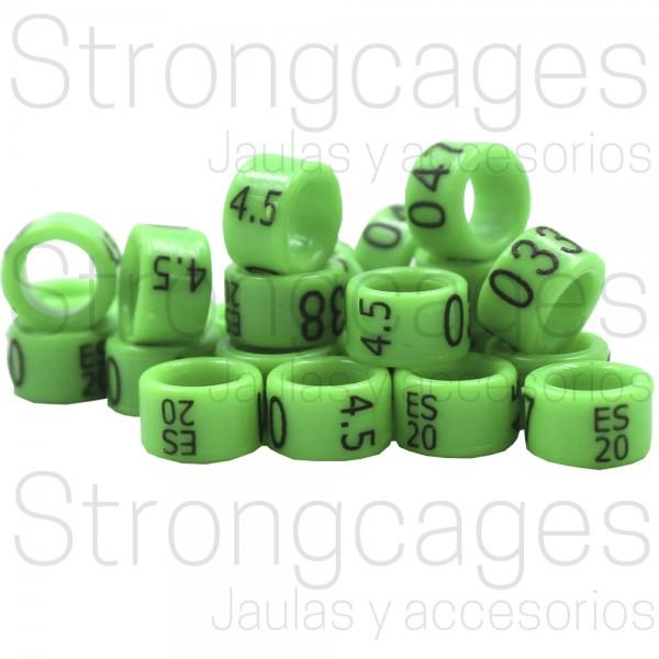 Agapornis / Anillas  Grabadas con año y numeradas, de carbono