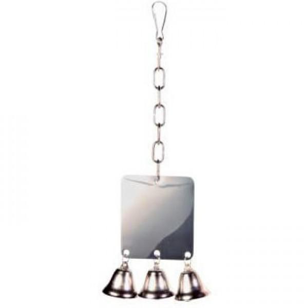 Espejo metálico, con 3 campanas 8 x 7 cm
