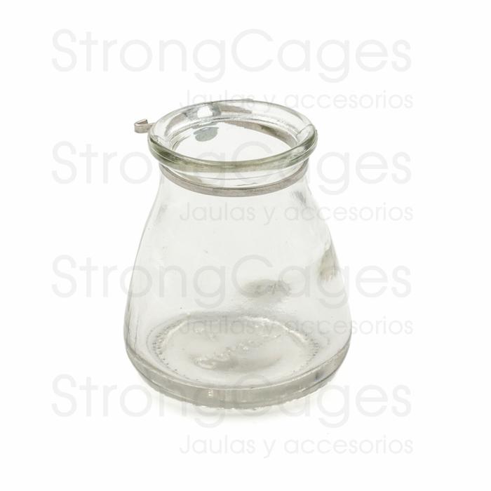 Olleta de cristal con anilla metálica